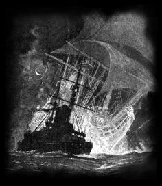 Illustration by Gregory Robinson for Rudyard Kipling's poem Seven Seas. A vessel sights the Flying Dutchman.