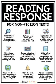 Do you want to incorporate more opportunities for student choice in your classroom? These reading comprehension prompts are a great first step! Create your own printable template using these reading comprehension activities for non-fiction texts. Kids in 3rd, 4th, 5th, and middle school will love making their own learning decisions, leading to increased engagement! It would also work well for literacy centers and literature circles! Click to pick your favorite prompts today! Teaching 6th Grade, Help Teaching, Teaching Reading, Reading Comprehension Activities, Reading Resources, Reading Skills, Upper Elementary Resources, Learn To Read, Nonfiction