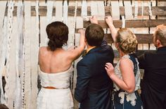 wooden fabric decor http://greenweddingshoes.com/diy-metropolitan-building-wedding-lindsey-trevor/