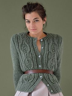 Knit this classic women's cardigan worked in bobbles and cables from Still. Designed by Kim Hargreaves using our wonderfully soft British yarn Cocoon (merino wool and kid mohair), this knitting pattern is suitable for the knitter with a little experience. Cable Cardigan, Cocoon Cardigan, Cardigan Pattern, Rowan Knitting, Hand Knitting, Tricot D'art, Cardigans For Women, Knitwear, Knit Crochet