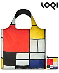 Sac shopping pliable Mondrian - Composition en rouge, jaune, bleu et noir (1926) - Loqi Museum Collection