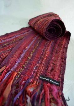 Handwoven scarf wine multi colored with novelty by kindredthreads, $75.00 by Viroqua artist Angela Feltes.
