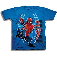 Marvel Spiderman Boys' Short Sleeve T-Shirt, Size: 5/6, Blue