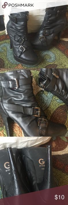 •Guess Boots• Guess boots with Buckle detail. 5 inch heel. A few scuff marks on heel, otherwise in good condition. Price listed is final. Guess Shoes Heeled Boots