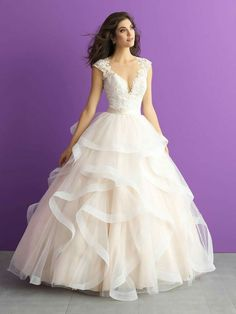 Shop wedding dress designer Allure bridal gowns at Regiss Showrooms online or in in Glasgow, Louisville, Bowling Green, or Owensboro, Kentucky! Wedding Dress Organza, Bridal Wedding Dresses, Dream Wedding Dresses, 2017 Bridal, Lace Wedding, Wedding Dresses With Ruffles, Belle Bridal, Modest Wedding, Wedding Vintage