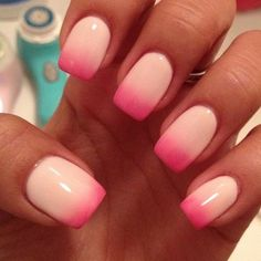 Cute looking gradient inspired nail art in melon and pink tip combination.