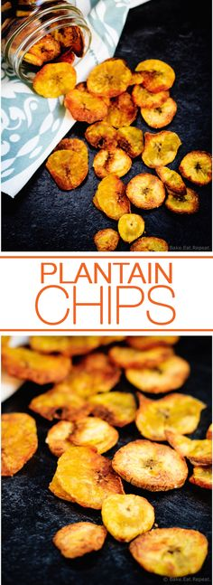 Plantain Chips - Quick and easy plantain chips - crunchy and crispy and perfect to snack on! Omit sugar use sea salt instead Cuban Recipes, Fruit Recipes, Baking Recipes, Snack Recipes, Dessert Recipes, Peruvian Recipes, Desserts, Plantain Chips Recipe, Baked Plantain Chips