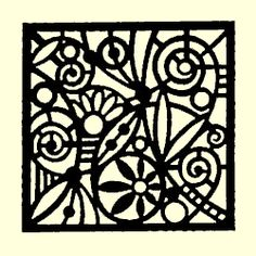 like a stained glass window - stamp in black and white, color in? Could do this same design on multiple cards with different colored patterns...