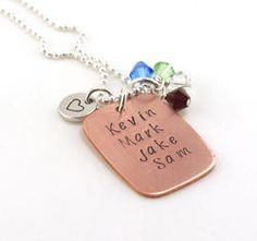Mothers Copper Name Personalized Hand Stamped Necklace