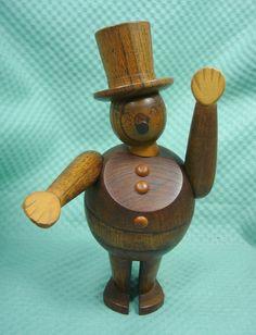 Vtg 1958 Schooline Zoo-Line Ringmaster Teak Wood Toy Bojesen Danish Mod Era