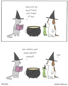 ©Liz Climo - lizclimo.tumblr.com Cosmic Comics, Fair Games, Witches Brew, Gremlins, Edd, Grimm, Halloween Fun, Halloween Humor, Goblin