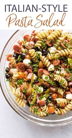 This easy Italian Pasta Salad has a tangy homemade dressing and all the Italian-style ingredients like pepperoni, ham, olives, mozzarella cheese and rotini pasta. Make it ahead and the leftovers keep well, too! Italian Pasta Recipes, Pasta Salad Italian, Easy Pasta Salad Recipe, Chicken Salad Recipes, Pizza Recipes, Roasted Grape Tomatoes, Homemade Italian Dressing, Summer Pasta Salad, Healthy Dinner Recipes