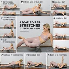 9 Easy Foam Roller Stretches to Erase Back Pain - health - Desserts Foam Roller Stretches, Yoga Foam Roller, Fitness Motivation, Heart Attack Symptoms, Calendula Benefits, Stomach Ulcers, Coconut Health Benefits, Yoga Poses, Health Tips
