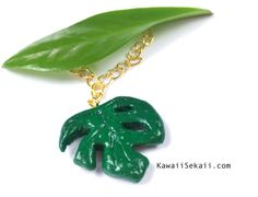 Monstera Leaf/ Palm Tree Leaf /Palm Leaf/Palm Tree Tropical Polymer Clay Charm Keychain/Mobile Plug/ Pendant for Necklace and Bracelet by KawaiiSekaiiWorkshop on Etsy
