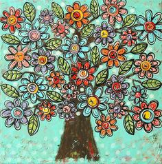 Original Mini MixedMedia Darling Tiny Garden Series by dishyart, $145.00 Colorful Trees, Garden Painting, Flower Pictures, Tree Art, Mixed Media Collage, Art Plastique, Original Paintings, Original Art, Cool Art
