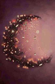 Moon and the stars.want to make some form of a crescent moon with sparkling~dangling stars. Moon Art, Moon Child, Fairy Lights, Illustration Art, Artsy, Drawings, Creative, Crafts, Christmas Lights