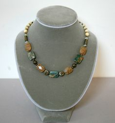 Impression Jasper, Rutilated Quartz, Araganite and Brass Beaded Necklace