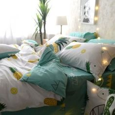Yellow Green White and Mint Green Tropical Fruit Pineapple Print Rustic Country Style Cotton Twin, Full, Queen Size Bedding Sets Rustic Bedding Sets, Best Bedding Sets, Queen Bedding Sets, Luxury Bedding Sets, Comforter Sets, Country Bedding, King Comforter, Bed Sheets Online, Cheap Bed Sheets
