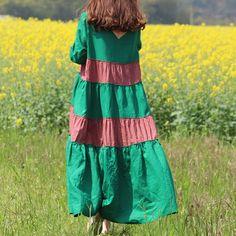 Let's Wander Dresses Cotton Linen Patchwork mori girl 2016 autumn winter Dress Overall Dresses Female Vestidos Femininos