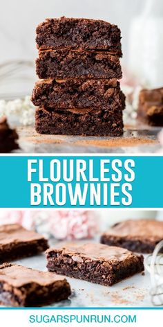 A simple recipe for homemade Flourless Brownies. This recipe yields chocolatey, fudgy, rich brownies with crackly tops. Recipe includes a how-to video. Brownie Recipes, Cookie Recipes, Dessert Recipes, Easy Desserts, Delicious Desserts, Lemon Brownies, Molten Lava Cakes, Dessert Bars, Cookies