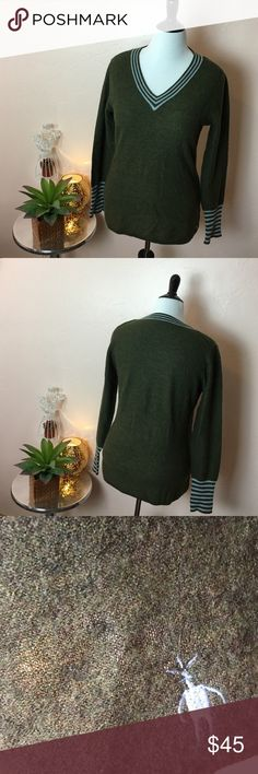 Smartwool Olive Green Vneck Sweater Smartwool Olive Green with light blue accent Vneck Sweater - Worn a handful of times. In great condition. - Size: Large - I ❤️ LOVE OFFERS! Smartwool Sweaters V-Necks