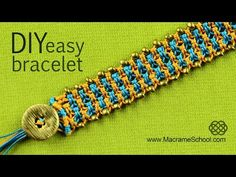 Easy Square Knot Bracelet with Button Clasp and Beads - YouTube