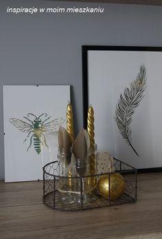 inspiracje w moim mieszkaniu: Złote plakaty w mojej aranżacji / Golden posters i...