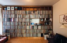 """vinylespassion: Wall of Sound - Christiaan MacDonald (Amsterdam) "" Guitar Storage, Cd Storage, Record Shelf, Vinyl Record Storage, Home Studio Musik, Vinyl Room, Recording Studio Design, Audio Room, Vinyl Music"