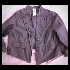 NWT Torrid Cropped Gray Military Jacket 3X Never worn brand new with tags! Size 3X Gray Military Crop jacket. Twill stretch and in perfect condition. torrid Jackets & Coats