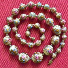 Antique Vintage Wedding Cake FIORATO Graduated Bead Necklace Glitter Aventurine Swirls Venetian Murano Art Glass Pink Roses Flowers 22 In by MemphisVintage on Etsy