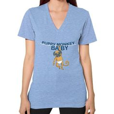 Puppy Monkey Baby Shirt V-Neck (on woman) Shirt