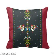 polish folk throw pillow