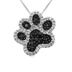 Sterling Silver Black and White Diamond Dog Paw « Holiday Adds