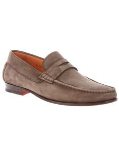 Brown suede moccasin from Santoni featuring a round toe with apron, cut-out detail to the top and a leather sole.