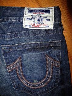 TRUE RELIGION 36 Jeans Men's Straight Dark Stitch Pockets