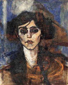 Portrait of Maude Abrantes - Amedeo Modigliani - 1907 - Expressionnism
