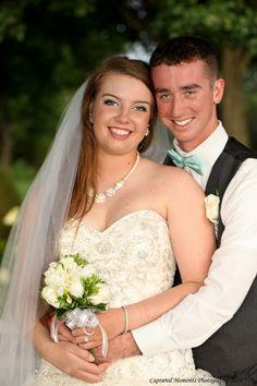 Very happy newlyweds.  Her gardenia bouquet smelled spectacular!
