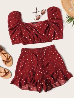 To find out about the Heart Print Puff Sleeve Top With Ruffle Shorts Set at SHEIN, part of our latest Two-piece Outfits ready to shop online today! Girls Fashion Clothes, Teen Fashion Outfits, Girl Fashion, Girl Outfits, Clothes For Women, Womens Fashion, Fashion Black, Fashion Ideas, Cute Summer Outfits