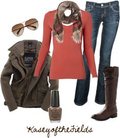 """Fall Coral 2"" by kaseyofthefields on Polyvore"