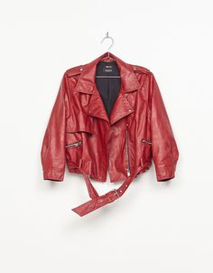 Leather-effect jacket with puffy sleeves. Discover this and many more items in Bershka with new products every week