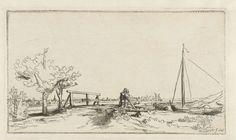 Bruggetje bij buitenplaats Klein-Kostverloren met gezicht op Ouderkerk aan de Amstel, Rembrandt Harmensz. van Rijn, Ignace Joseph de Claussin, 1750 - 1825