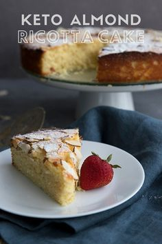 Keto Cake, Keto Cheesecake, Desserts Keto, Dessert Recipes, Soup Recipes, Diet Recipes, Almond Flour Cakes, Cake Calories, Ricotta Cake