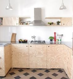 diy- Küche DIY kitchen, tags old building + plywood + DIY + award kitchen Plywood Furniture, Kitchen Furniture, Kitchen Interior, Diy Furniture, Plywood Interior, Furniture Design, Diy Kitchen, Kitchen Cabinets, Kitchen Floors