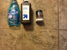 Miracle cleaner cleans tile grout!  Clean on left dirty on right!  1 part dawn dish soap 2 parts hydrogen peroxide!  AMAZING!