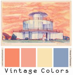 Vintage Color Palette - House of Tomorrow - read more and see hex codes on the… Vintage Color Schemes, Vintage Colour Palette, Colour Pallette, Vintage Colors, Colour Schemes, Color Combos, Colour Chart, Wall Paint Colors, Interior Paint Colors