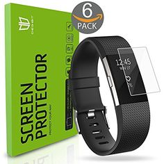 Fitbit Charge 2 Screen Protector, [6-Pack] DEGBIT [NO-Peeling off] [Full…