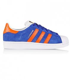 adidas Suede and Croc-Effect Leather Superstar Sneakers // Blue sneakers with orange stripes