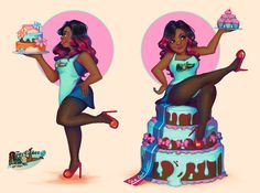 prinnay: Character art for the lovely cake. Black Girl Art, Black Women Art, Black Girl Magic, Black Girls, Art Girl, Arte Black, Black Art Pictures, Natural Hair Art, By Any Means Necessary