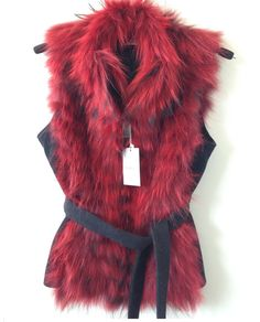 Bolero jacket coat fur raccoon and cashmere  Red
