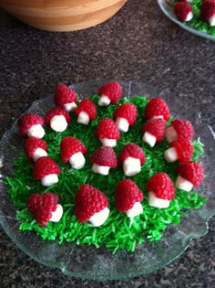 Raspberries, mini marshmallows and coloured sweetened shredded coconut for the grass Mushroom treats for Gnome party Fairy Birthday Party, Garden Birthday, 4th Birthday, Birthday Ideas, Princess Birthday, Birthday Decorations, Fairytale Party, Enchanted Forest Party, Ben E Holly